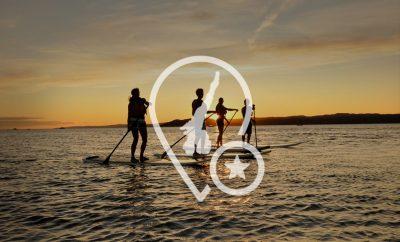Sonnenuntergang Yoga und Paddleboard am Gardasee